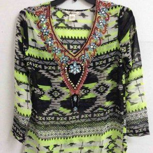 Lucky & Coco Tunic Top Black Green V Embellished M